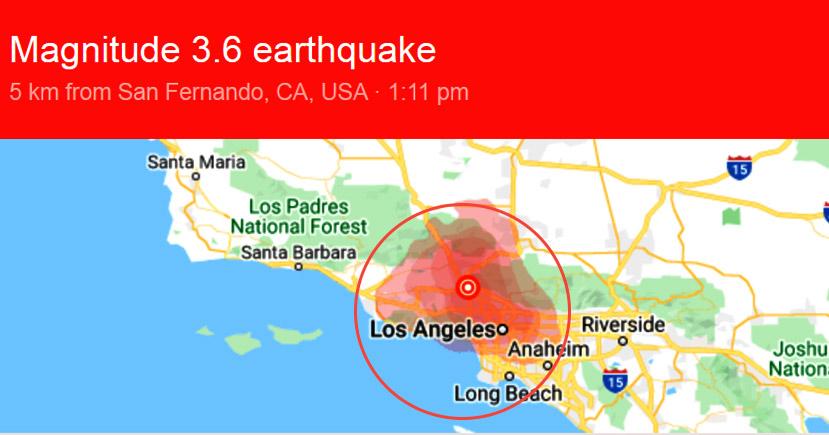 3.6 Magnitude Earthquake Hits Granada Hills, US
